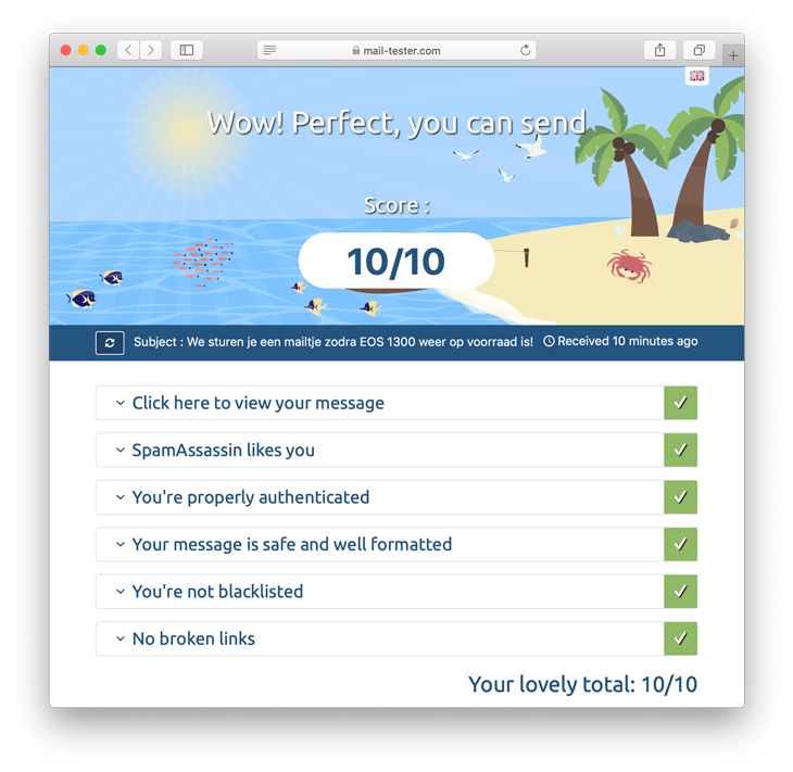 Mail-tester.com 10/10 score